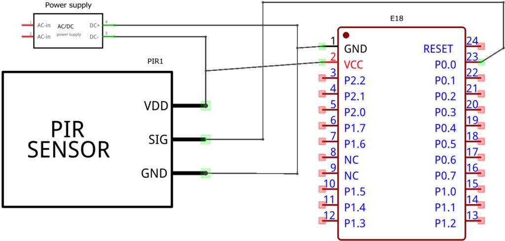 Zigbee PIR sensor schematic