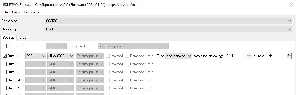 HLW8032. Zigbee firmware settings